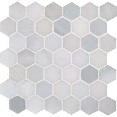 Greecian White Hexagon 12 in. x 11.75 in. x 10mm Polished Marble Mesh-Mounted Mosaic Tile (0.98 sq. ft.)