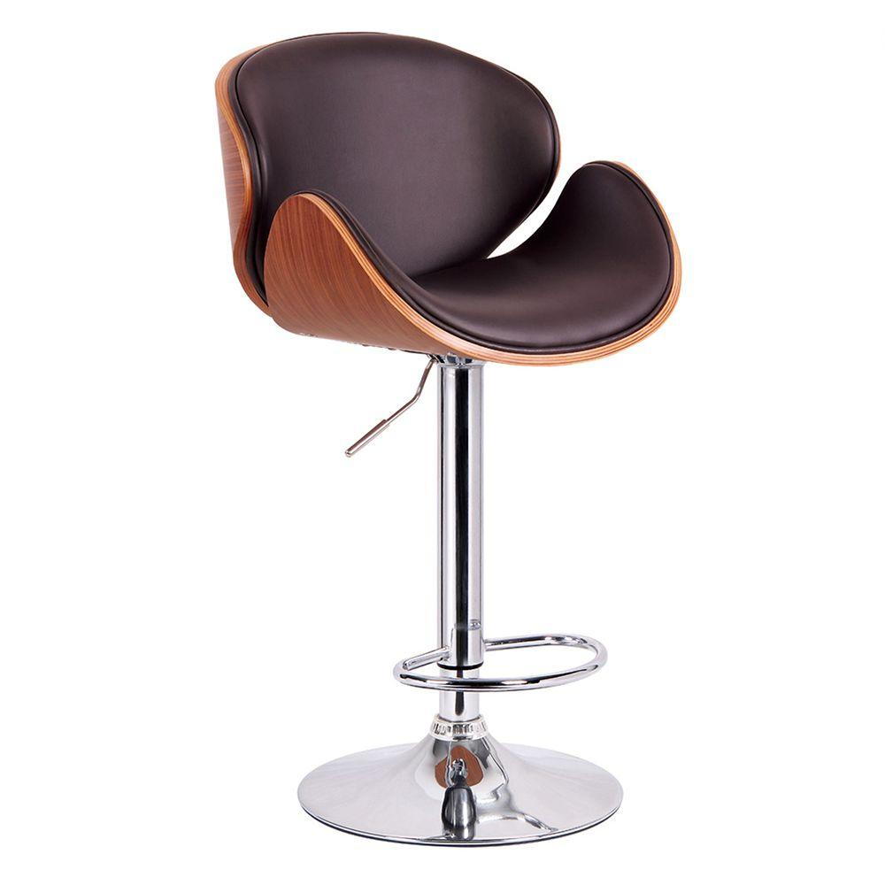 Worldwide Homefurnishings 23.5 in. Adjustable Bentwood Faux Leather Chrome Metal Bar Stool in Brown
