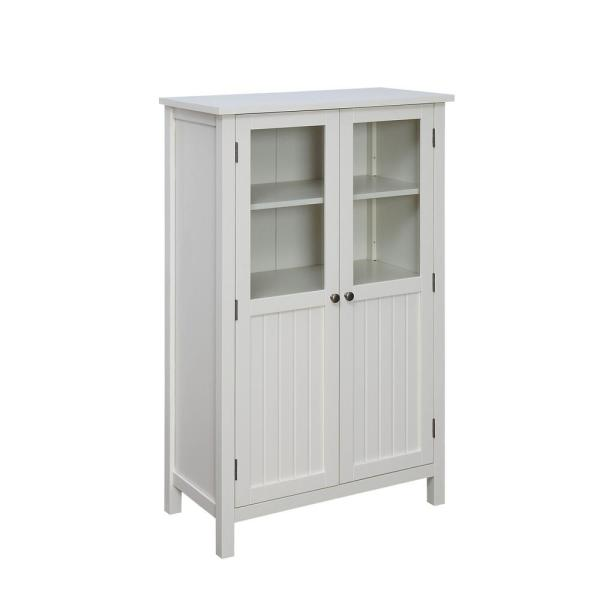 Storage Cabinet Kitchen Pantry Tall Wood Utility Cupboard Cottage Style White Home Garden Furniture