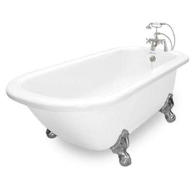 67 in. AcraStone Acrylic Classic Clawfoot Non-Whirlpool Bathtub in White with Large Ball Clawfeet Faucet in Satin Nickel