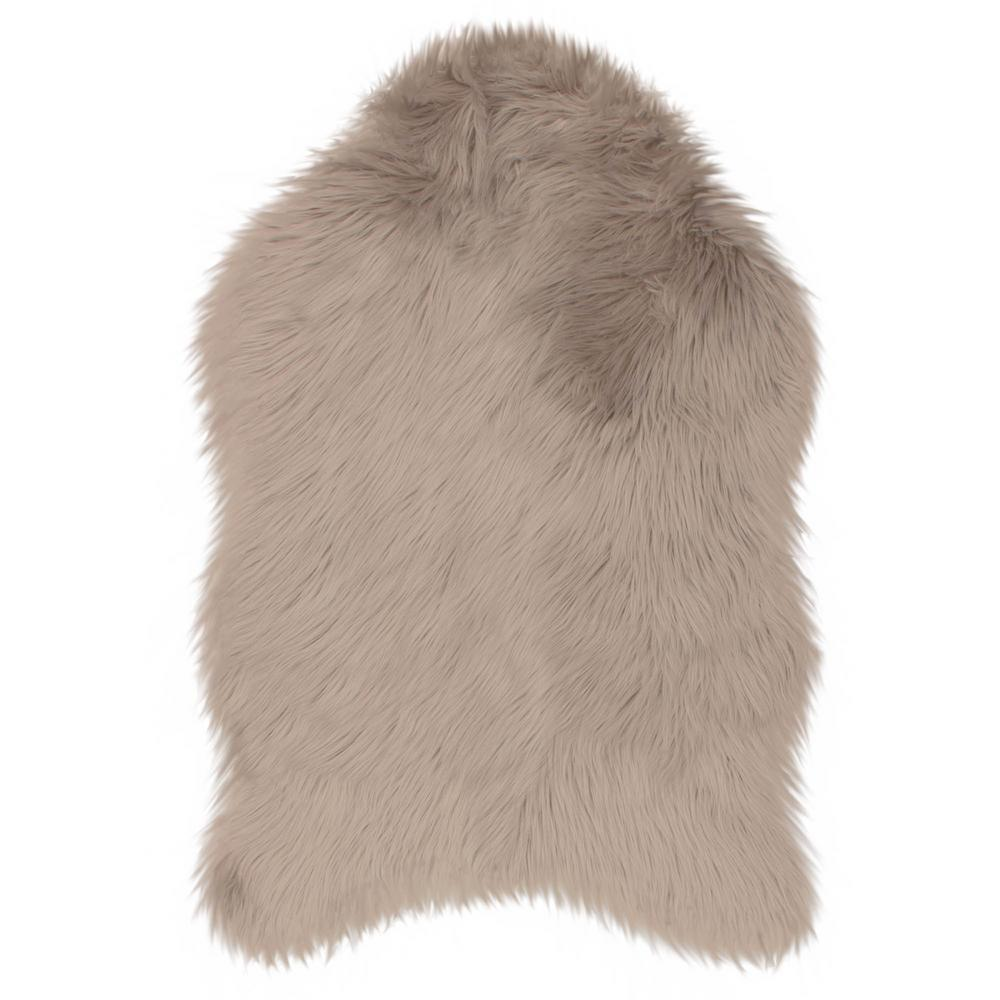 Jean Pierre Faux-Fur Taupe Grey 4 Ft. X 2 Ft. Area Rug