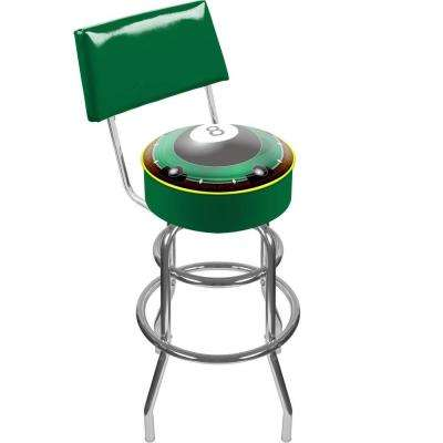Rack'em 8-Ball 30 in. Chrome Swivel Cushioned Bar Stool