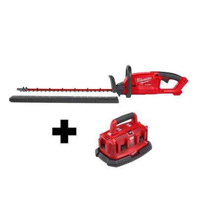 M18 FUEL 18-Volt Lithium-Ion Brushless Cordless Hedge Trimmer with M18 6-Port Sequential Battery Charger