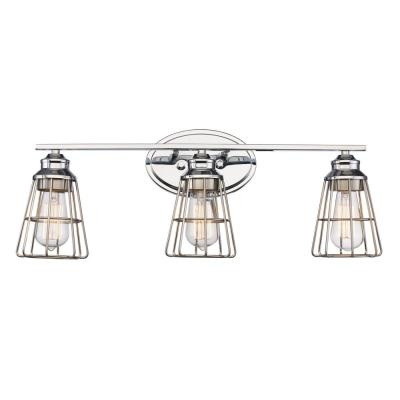 3 Light Polished Chrome Vanity Light with Metal Shades