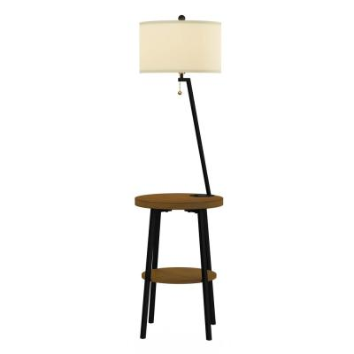 58 in. Brown and Black Mid-Century Modern LED Floor Lamp End Table with USB Charging Port