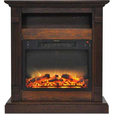 Sienna 34 in. Electric Fireplace with Enhanced Log Display and Walnut Mantel