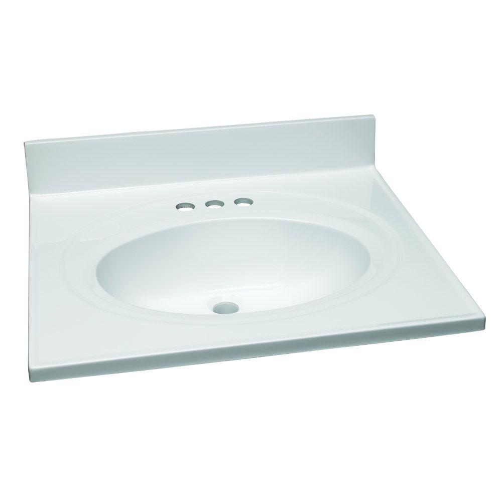 25 in. W Cultured Marble Vanity Top in White with Solid