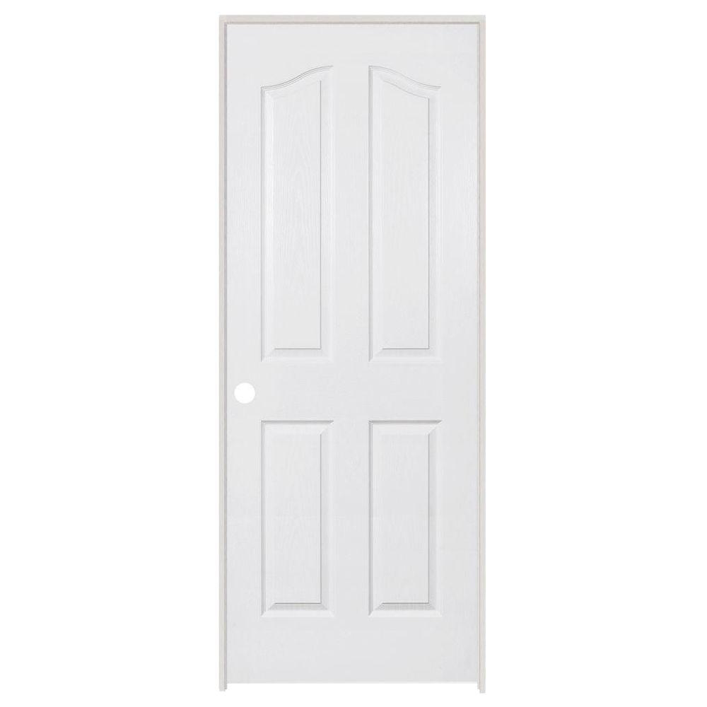 Steves & Sons 30 in. x 80 in. 4-Panel Archtop Textured Primed White Evolution Solid Core Single Prehung Interior Door