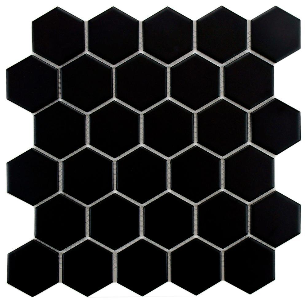 Metro Hex 2 in. Matte Black 10-1/2 in. x 11 in. x 5 mm Porcelain Mosaic Tile (8.02 sq. ft. / case)