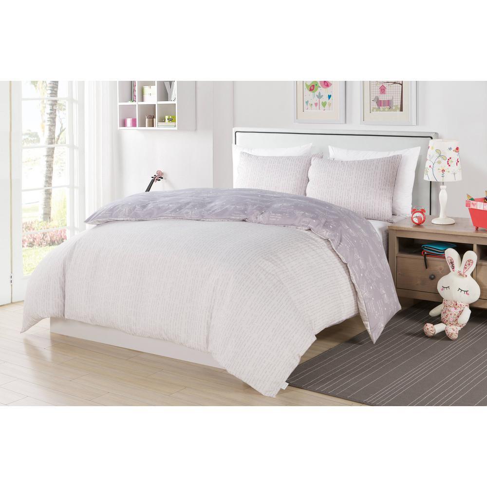 Malar Butterfly 2-Piece Grey-White Twin ComforterSet