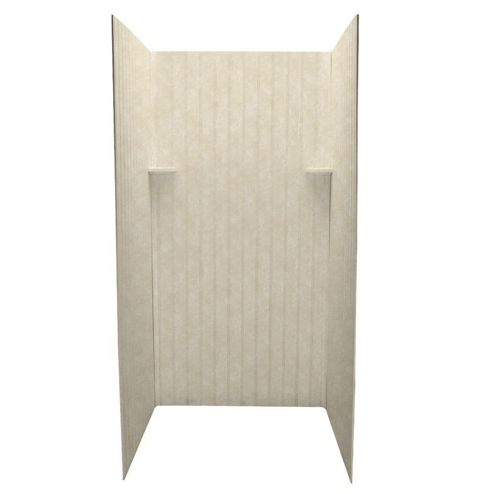 Swanstone Beadboard 36 in. x 36 in. x 72 in. Three Piece Easy Up Adhesive Shower Wall Kit in Cloud Bone-DISCONTINUED
