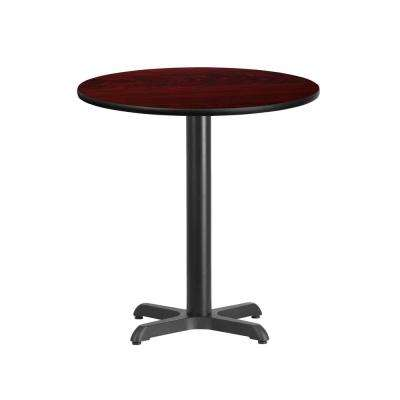 24 in. Round Mahogany Laminate Table Top with 22 in. x 22 in. Table Height Base