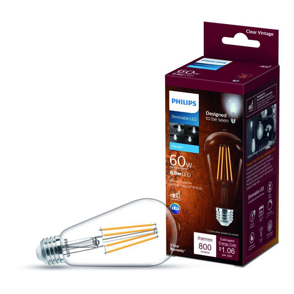 60-Watt Equivalent ST19 Dimmable Indoor/Outdoor Vintage Glass Edison LED Light Bulb Daylight (5000K)