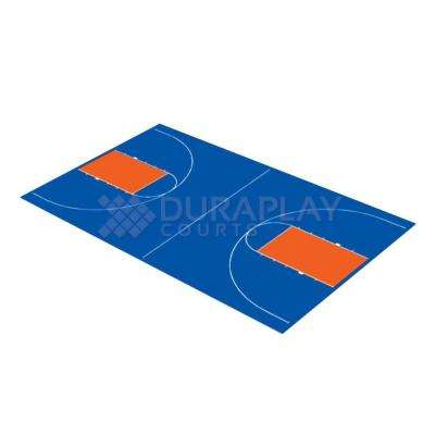 43 ft. 10 in. x 75 ft. 7 in. Royal Blue and Orange Full Court Basketball Kit