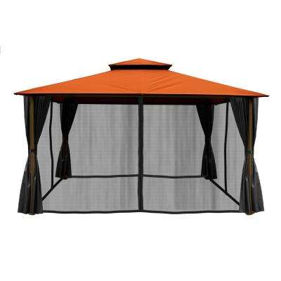 Paragon 11 ft. x 14 ft. Gazebo with Rust Sunbrella Top and Privacy Curtain and Mosquito Netting