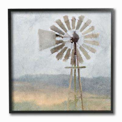 "12 in. x 12 in. ""Neutral Blue Windmill Breeze Farmyard Painting"" by Kimberly Allen Framed Wall Art"