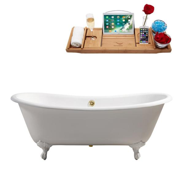 71.3 in. Cast Iron Clawfoot Non-Whirlpool Bathtub in Glossy White