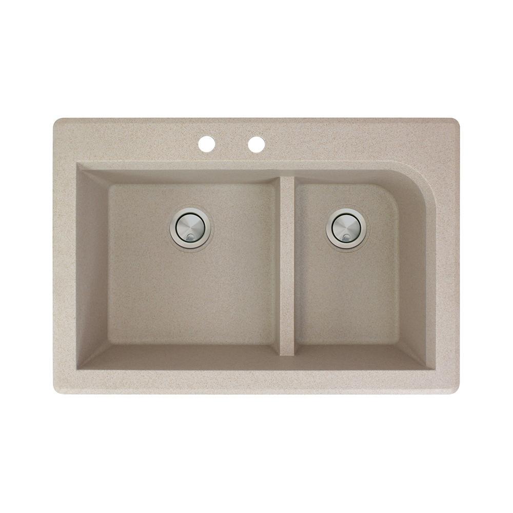 Radius Drop-in Granite 33 in. 2-Hole 1-3/4 J-Shape Double Bowl Kitchen Sink in Cafe Latte
