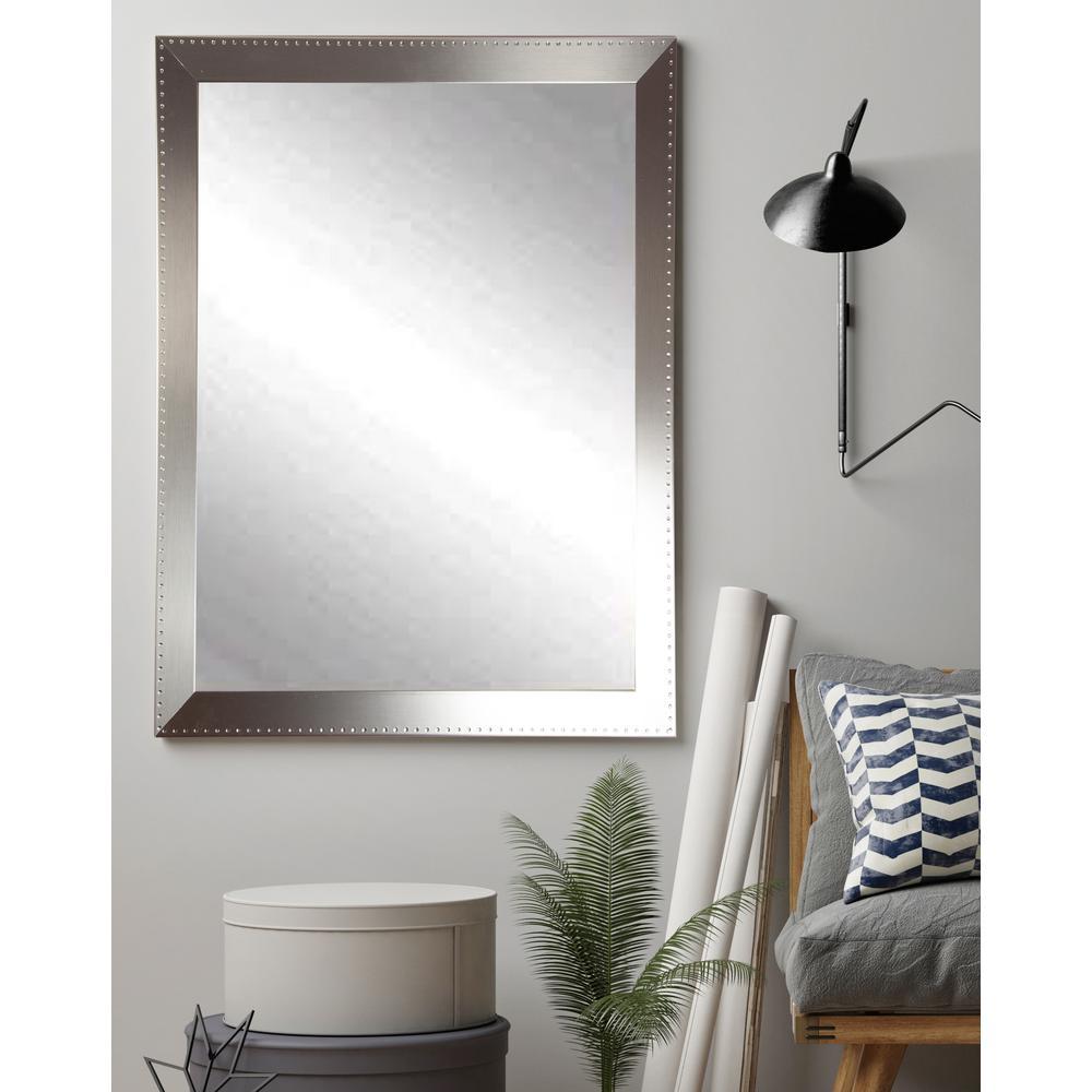Medium Rectangle Silver Hooks Modern Mirror (34 in. H x 30 in. W)