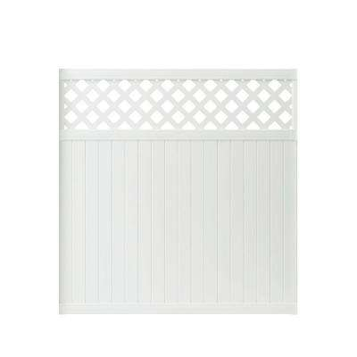 Lewiston 6 ft. H x 6 ft. W White Vinyl Lattice Top Fence Panel