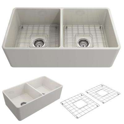 Classico Farmhouse Apron Front Fireclay 33 in. Double Bowl Kitchen Sink with Bottom Grid and Strainer in Biscuit