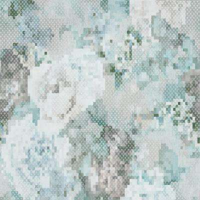 Geometric Pixelated Floral Blue and Grey Wallpaper