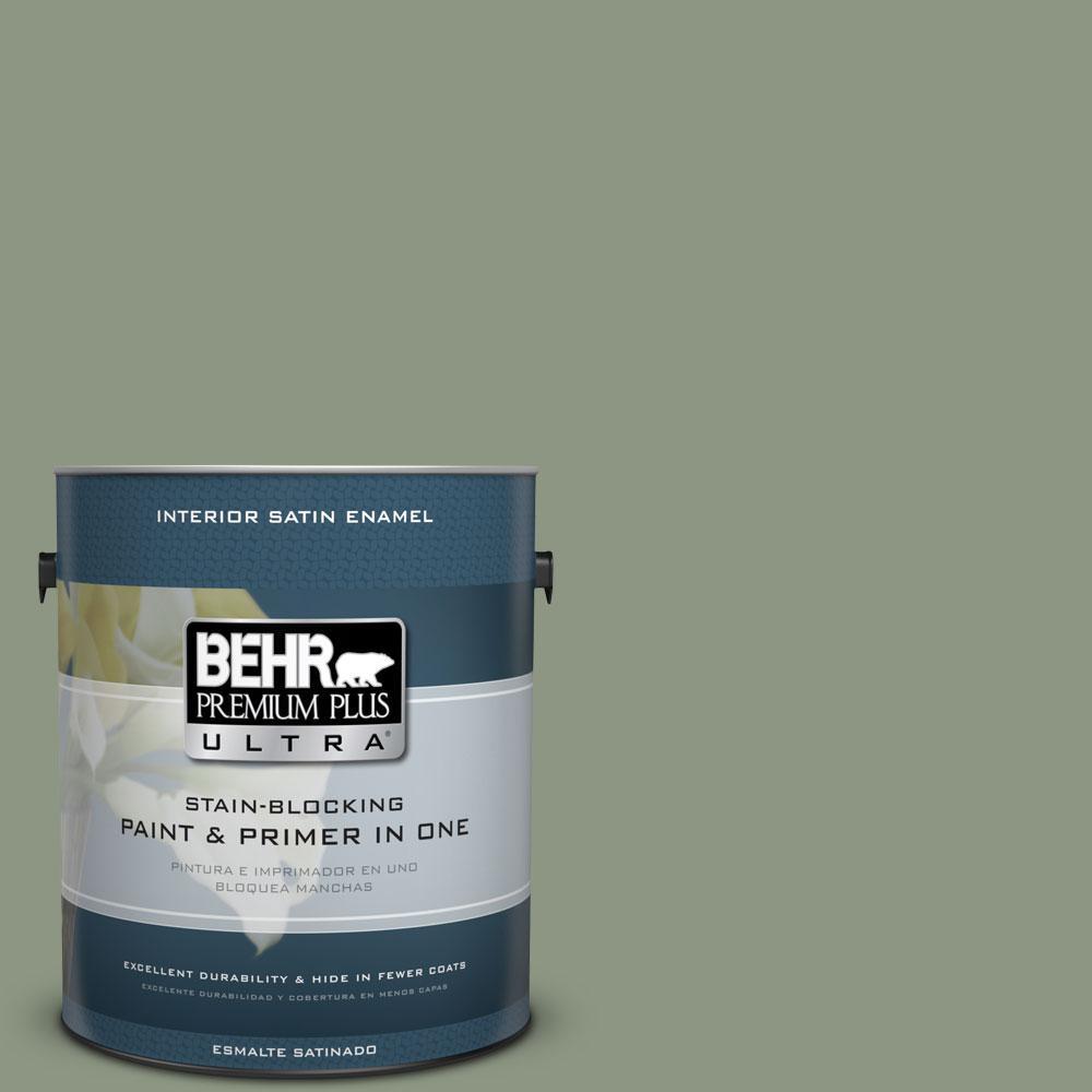 BEHR Premium Plus Ultra 1-Gal. #PPU11-17 Hillside Green Satin Enamel Interior Paint