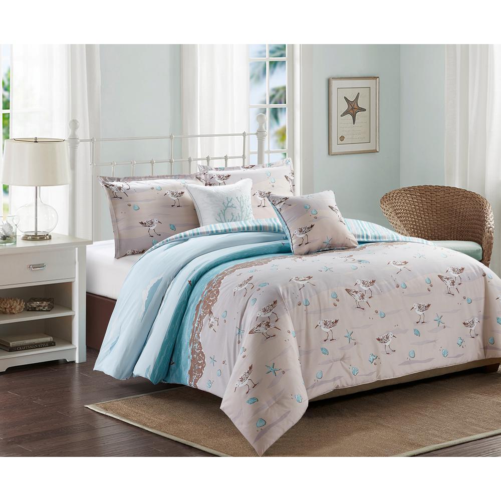 4-Piece Beige Sandpiper Twin Coastal Comforter Set