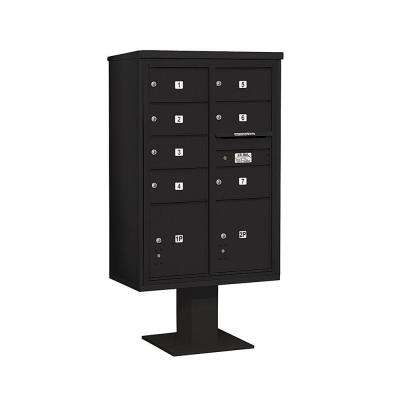 3400 Series 63-1/4 in. 13 Door High Unit Black 4C Pedestal Mailbox with 7 MB2/2 PL5
