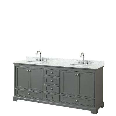 Deborah 79.75 in. W x 22 in. D Vanity in Dark Gray with Marble Vanity Top in Carrara White with White Basins