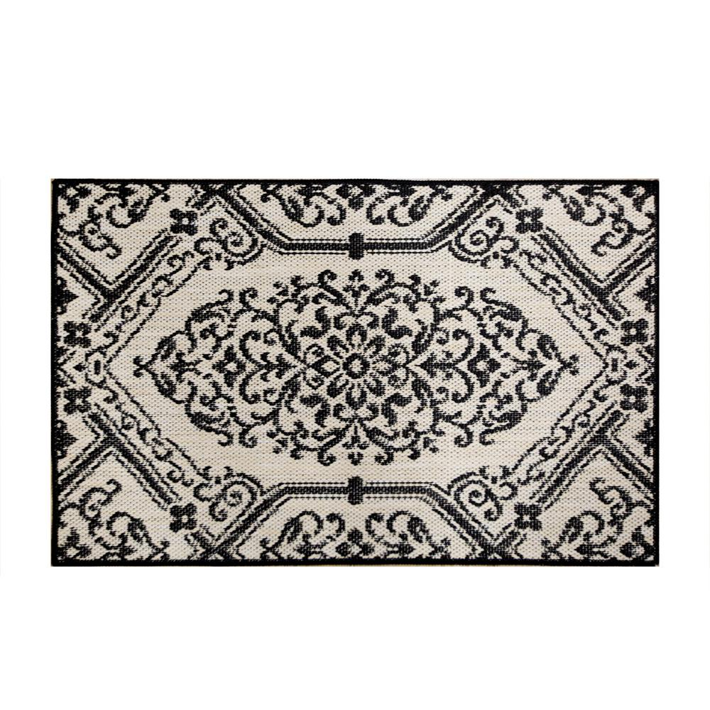 Cafe Jardin Decorative Mat: Home Dynamix Cafe Jardin Beige/Black 23.6 In. X 35.4 In