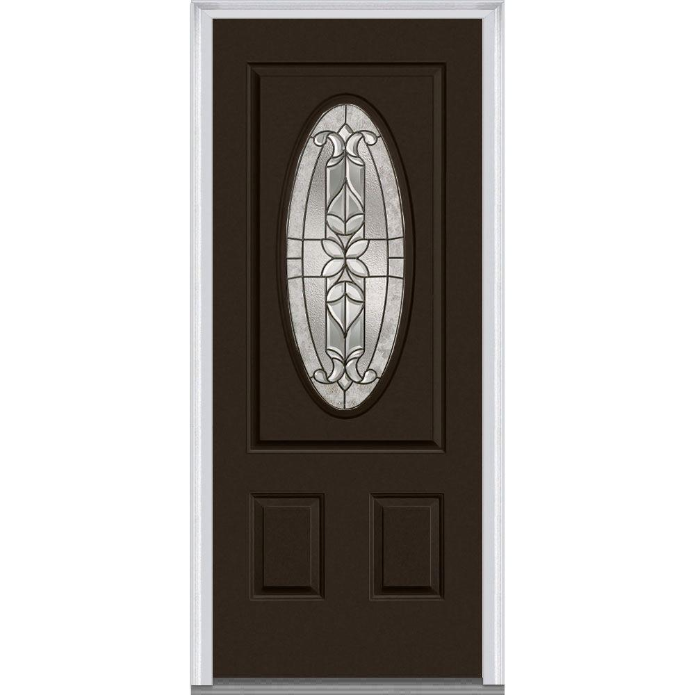 36 in. x 80 in. Cadence Right-Hand Small Oval 2-Panel Classic