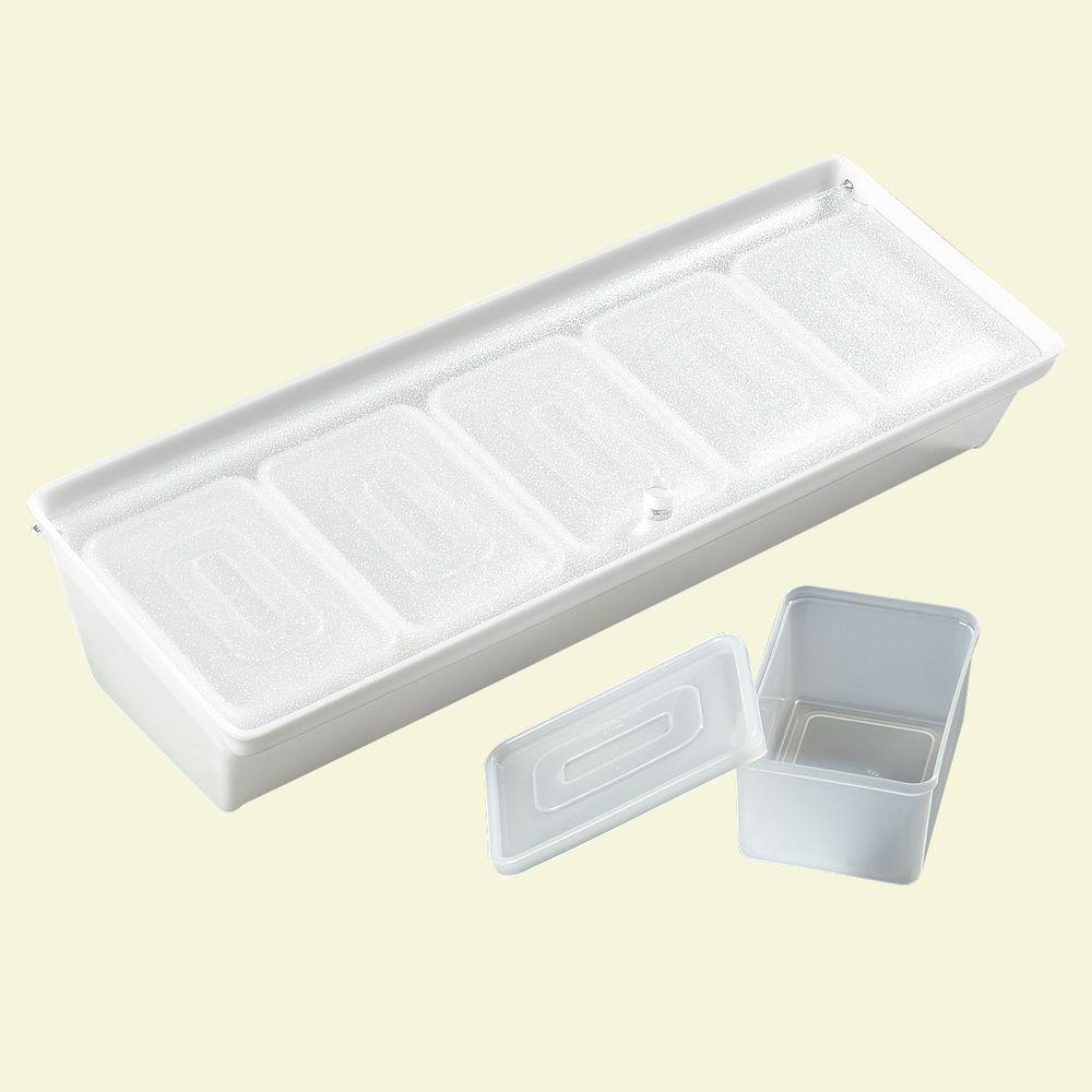 Bar Condiment Caddy with Five 1.25 pt. Inserts and Lid in