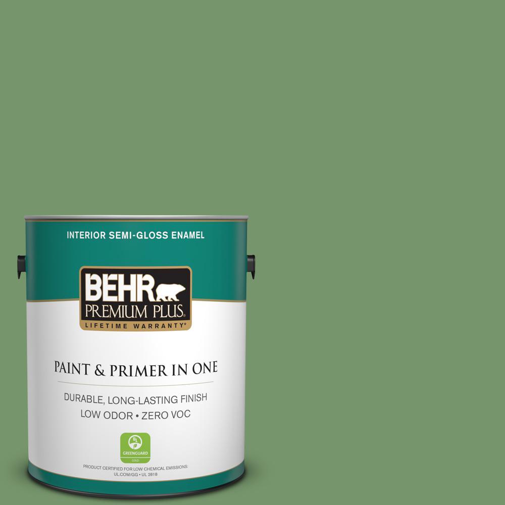 1 gal. #PPU11-03 Botanical Green Zero VOC Semi-Gloss Enamel Interior Paint