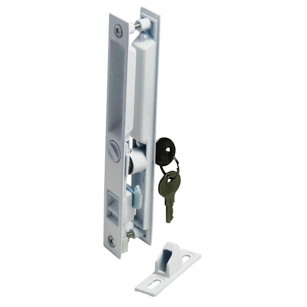 Barton Kramer 7 6 In Patio Door White Lock With Key 445w The Home Depot