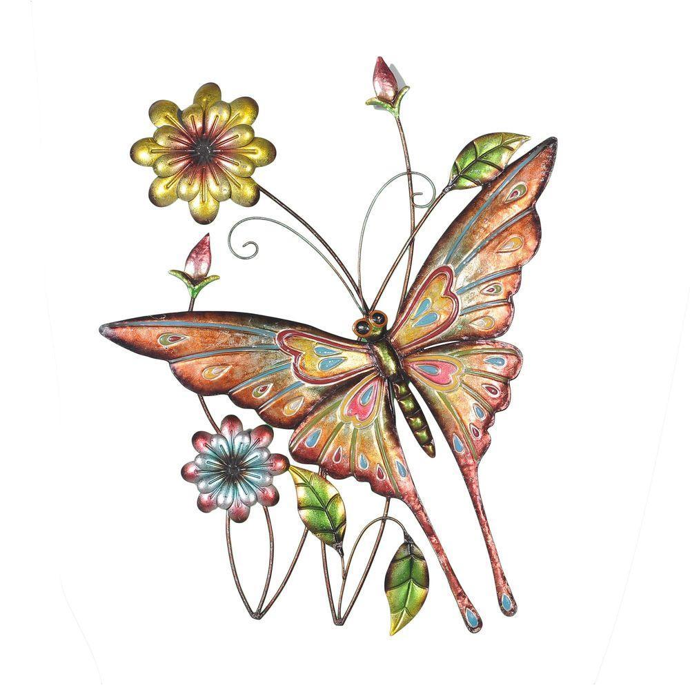 Sunjoy Butterfly And Flowers Iron Outdoor Wall Art