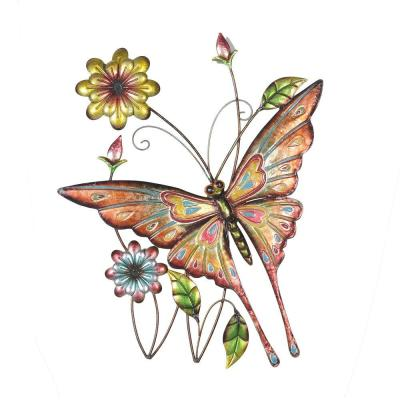 Butterfly and Flowers Iron Outdoor Wall Art