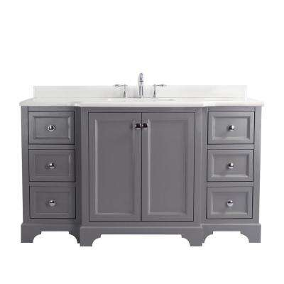 Jenny 60 in. Single Bath Vanity in Gray with Quartz Vanity Top in White with White Basin