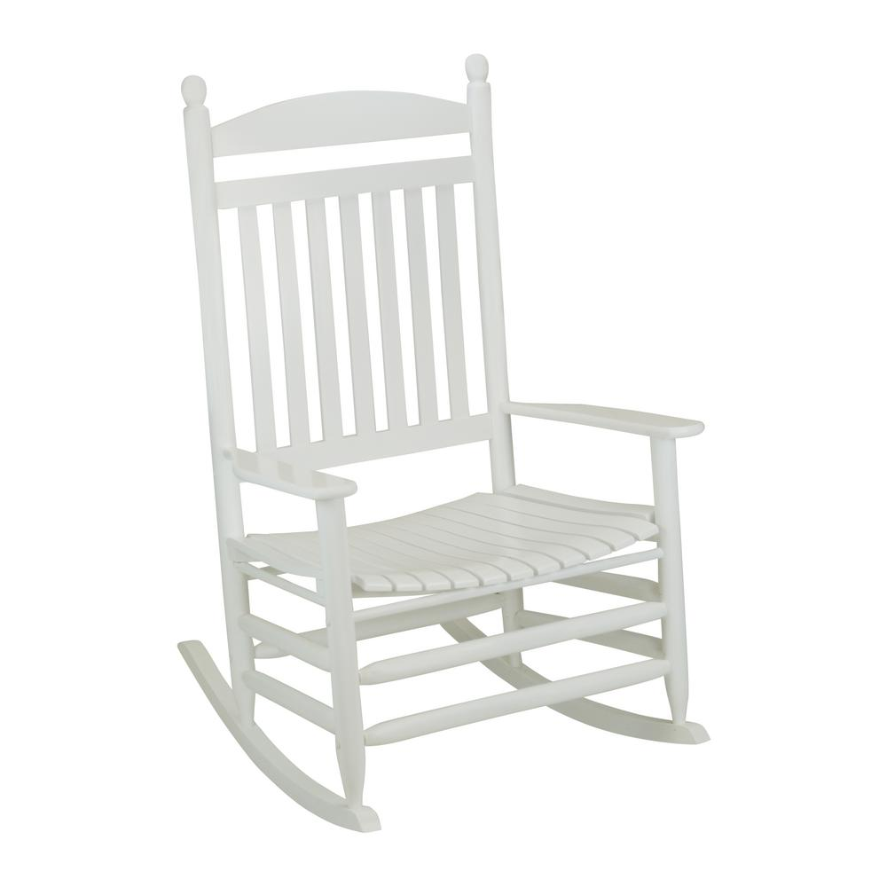 Bradley White Slat Jumbo Wood Outdoor Patio Rocking Chair 1200sw Rta The Home Depot