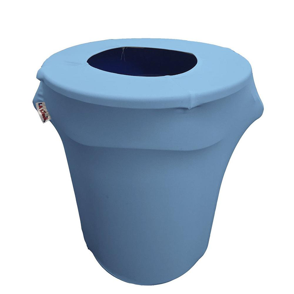 32 Gal. Round Light Blue Stretch Spandex Trash Can Cover