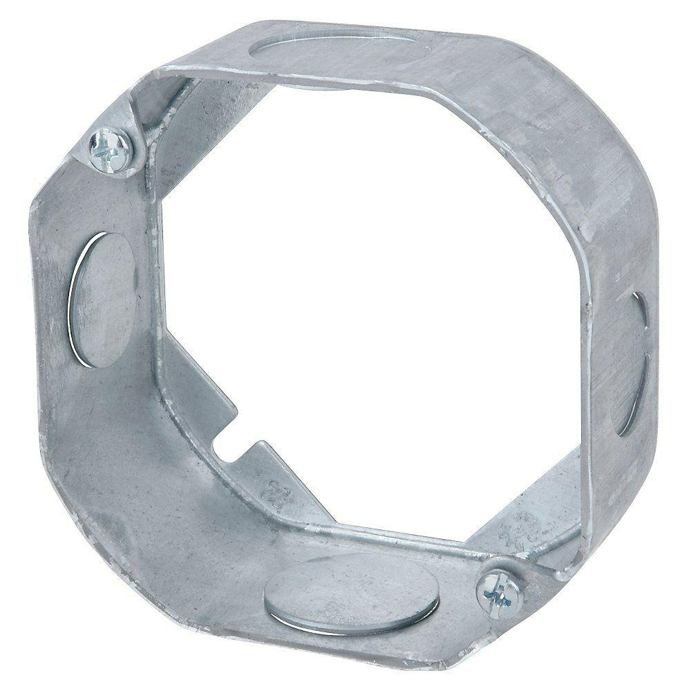 Steel City 4 in. 1-1/2 in. New Work Deep Pre-Galvanized Metal Octagon Electrical Box Extension Ring