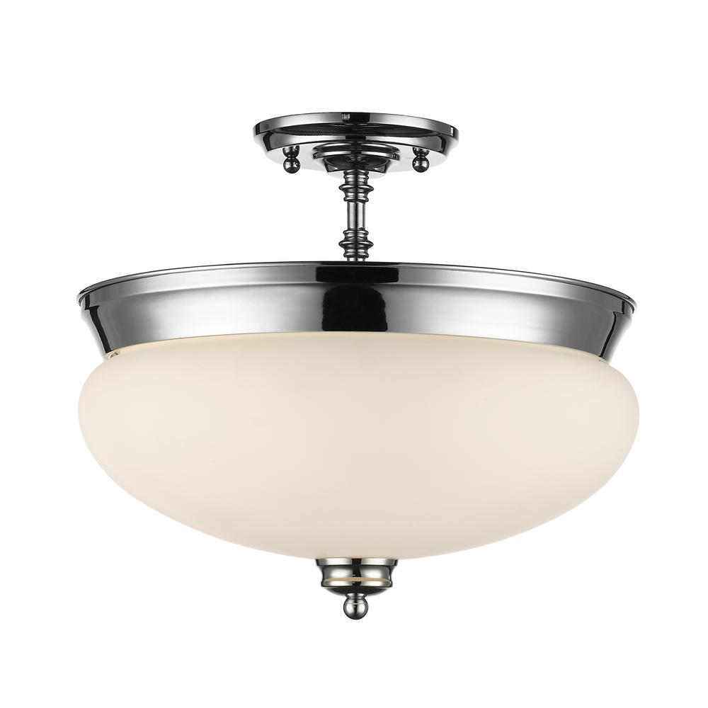 Amonte 3-Light Chrome Semi-Flush Mount with Matte Opal Shade