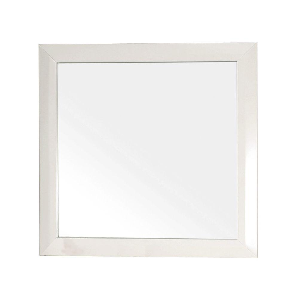 Bellaterra home telford 32 in l x 32 in w solid wood frame wall bellaterra home telford 32 in l x 32 in w solid wood frame wall mirror in white 203054 mirror the home depot amipublicfo Choice Image