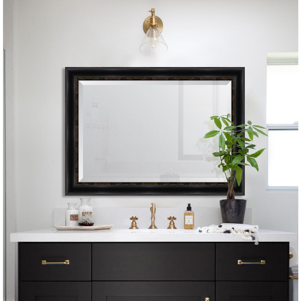 melissa van hise 30 in x 42 in black with gold emboss resin frame mirror mir3182436 the home. Black Bedroom Furniture Sets. Home Design Ideas