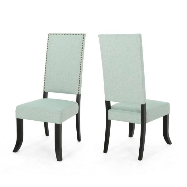 Noble House Coquille Glam Light Teal Fabric High-Back Dining Chairs with