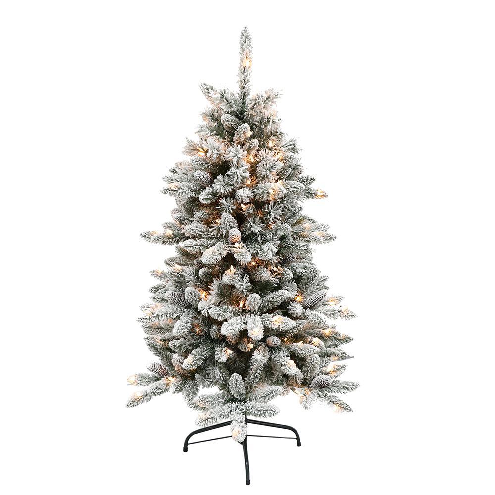 Pre Lit Flocked Artificial Christmas Trees: Puleo International 4.5 Ft. Pre-Lit Flocked Bennington Fir