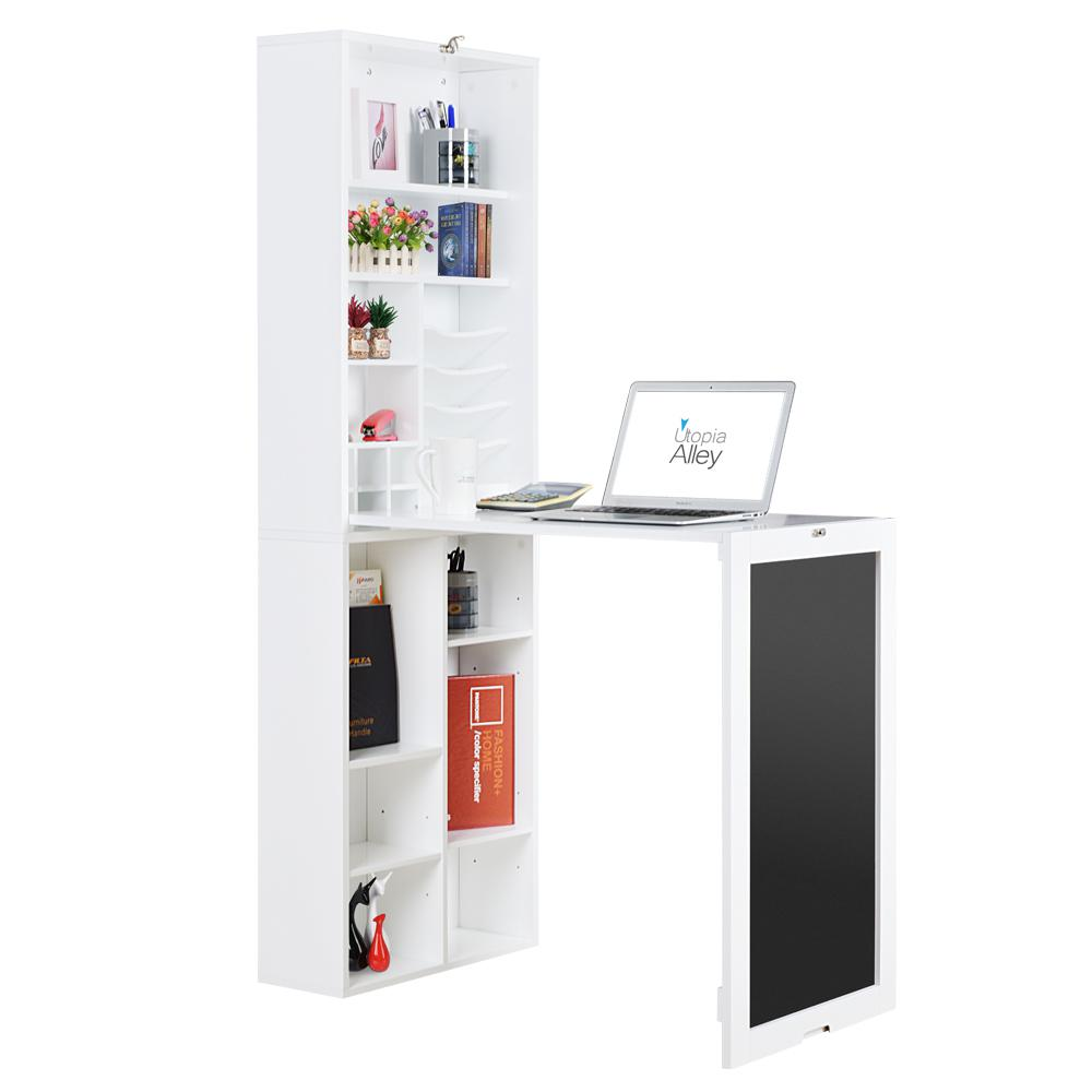 Utopia Alley White Collapsible Fold Down Desk Table Wall Cabinet