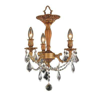 Windsor 3-Light French Gold Semi-Flush Mount Light with Clear Crystal