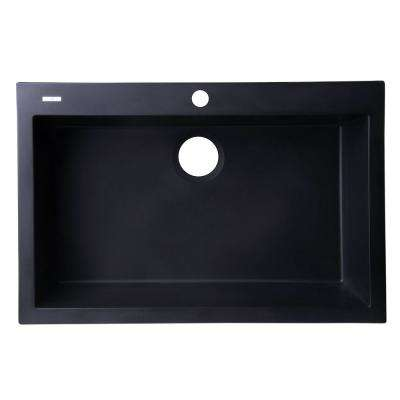 Drop-In Granite Composite 29.88 in. 1-Hole Single Bowl Kitchen Sink in Black
