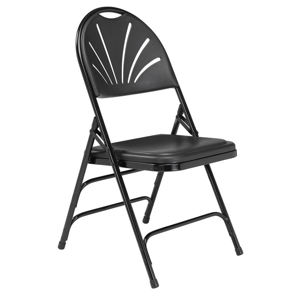 Black Plastic Fan Back Stackable Outdoor Safe Folding Chair (Set of 4)